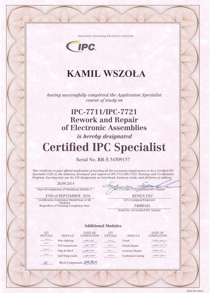 Certyfikat IPC Serwis Konsol Rzeszów
